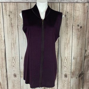 Carole Little dark violet vest tunic zip up. 615